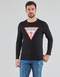 Textil Homem T-shirt mangas compridas Guess CN LS ORIGINAL LOGO TEE Preto