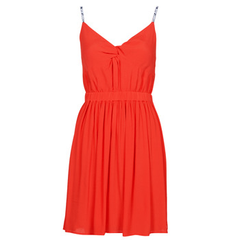 Textil Mulher Vestidos curtos Tommy Jeans TJW ESSENTIAL STRAP DRESS Vermelho