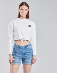 Textil Mulher Sweats Tommy Jeans TJW SUPER CROPPED BADGE CREW Branco