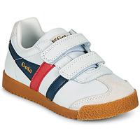 Sapatos Criança Sapatilhas Gola HARRIER LEATHER VELCRO Branco / Marinho / Vermelho