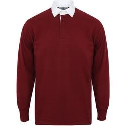 Textil Homem Polos mangas compridas Front Row FR100 Borgonha profunda/branco