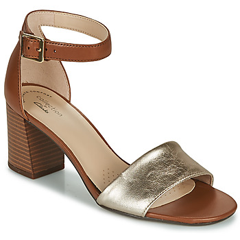 Sapatos Mulher Sandálias Clarks JOCELYNNE CAM Castanho / Prateado