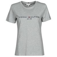 Textil Mulher T-Shirt mangas curtas Tommy Hilfiger TH ESS HILFIGER C-NK REG TEE SS Cinza