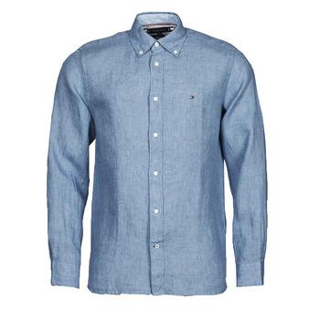 Textil Homem Camisas mangas comprida Tommy Hilfiger PIGMENT DYED LINEN SHIRT Azul