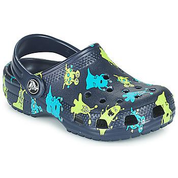 Sapatos Rapaz Tamancos Crocs CLASSIC MONSTER PRINT CLOG T Azul