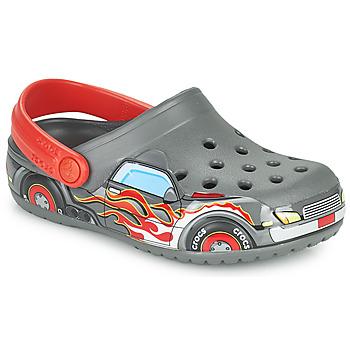 Sapatos Rapaz Tamancos Crocs FLTRUCKBANDCLOG K Cinza / Vermelho