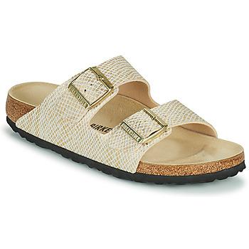 Sapatos Mulher Chinelos Birkenstock ARIZONA Ouro / Branco