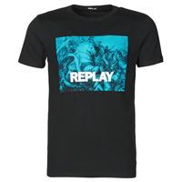 Textil Homem T-Shirt mangas curtas Replay M3412-2660 Preto / Azul