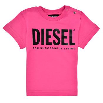 Textil Rapariga T-Shirt mangas curtas Diesel TJUSTLOGOB Rosa