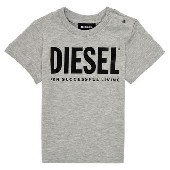 Textil Criança T-Shirt mangas curtas Diesel TJUSTLOGOB Cinza