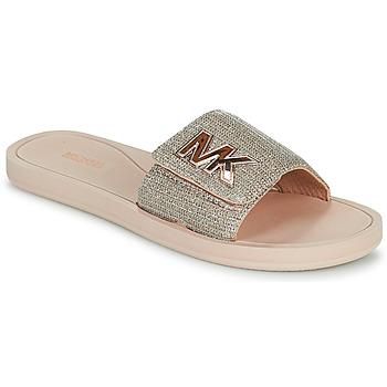 Sapatos Mulher chinelos MICHAEL Michael Kors MK SLIDE Rosa / Cru / Ouro