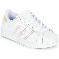 Sapatos Rapariga Sapatilhas adidas Originals SUPERSTAR C Branco / Iridescente