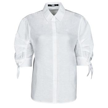 Textil Mulher camisas Karl Lagerfeld LINENSHIRTW/BOWS Branco
