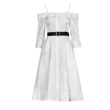Textil Mulher Vestidos compridos Karl Lagerfeld COLDSHOULDERSHIRTDRESS Branco