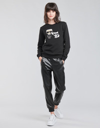 Textil Mulher Calças Karl Lagerfeld FAUXLEATHERJOGGERS Preto