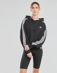 Textil Mulher Sweats adidas Originals SHORT HOODIE Preto