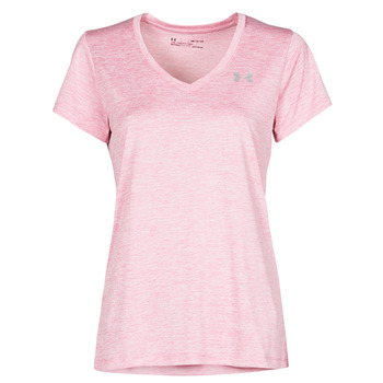 Textil Mulher T-Shirt mangas curtas Under Armour TECH SSV Rosa / Claro