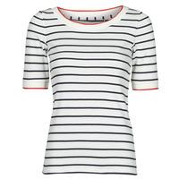 Textil Mulher T-Shirt mangas curtas Esprit RAYURES COL ROUGE Branco