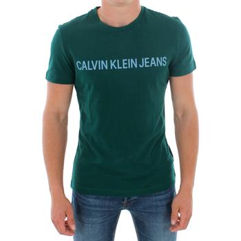 Textil Homem T-Shirt mangas curtas Calvin Klein Jeans J30J307856 383 GREEN Verde oscuro