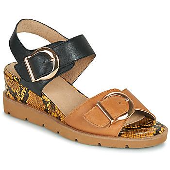 Sapatos Mulher Sandálias Sweet ETOXYS Preto / Camel