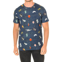Textil Homem T-Shirt mangas curtas John Frank Camiseta de manga corta Azul