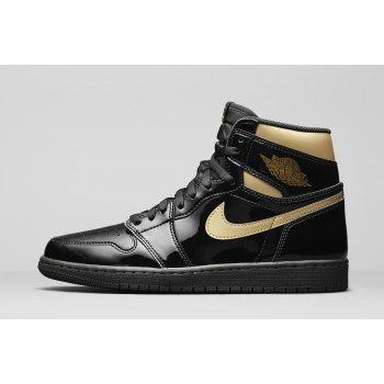 Sapatos Sapatilhas de cano-alto Nike Jordan 1 Black Metallic Gold Black/Black-Metallic Gold