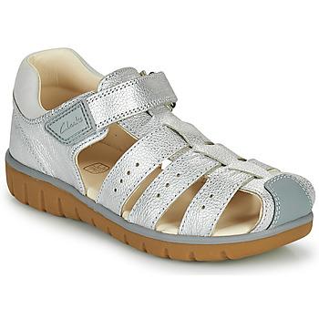 Sapatos Rapariga Sandálias Clarks ROAM BAY K Prateado