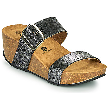 Sapatos Mulher Chinelos Plakton SO ROCK Preto / Metalizado
