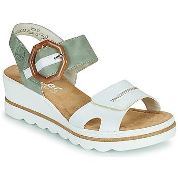 Sapatos Mulher Sandálias Rieker SOLLA Verde / Branco