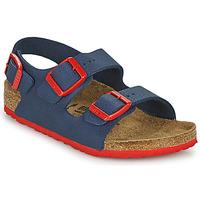 Sapatos Rapaz Sandálias Birkenstock MILANO Azul / Vermelho