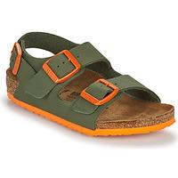 Sapatos Rapaz Sandálias Birkenstock MILANO Cáqui / Laranja