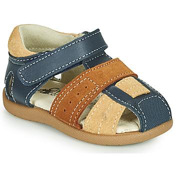 Sapatos Rapaz Sandálias Citrouille et Compagnie OLOSS Azul / Castanho
