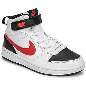 Sapatos Rapaz Sapatilhas Nike NIKE COURT BOROUGH MID 2 Branco / Vermelho / Preto