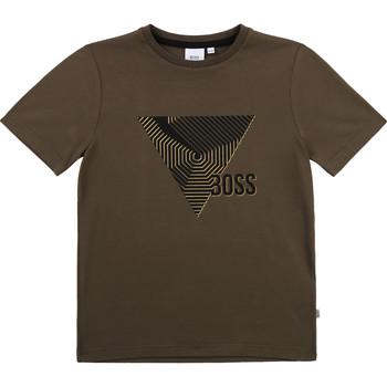 Textil Rapaz T-Shirt mangas curtas BOSS J25L02-64C-B Cáqui