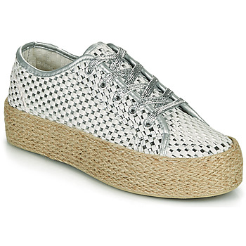 Sapatos Mulher Sapatilhas Café Noir DROMA Branco / Prata