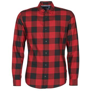 Textil Homem Camisas mangas comprida Jack & Jones JJEGINGHAM Vermelho / Preto