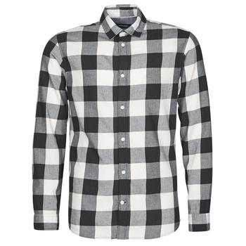 Textil Homem Camisas mangas comprida Jack & Jones JJEGINGHAM Branco / Preto