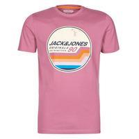 Textil Homem T-Shirt mangas curtas Jack & Jones JORTYLER Rosa