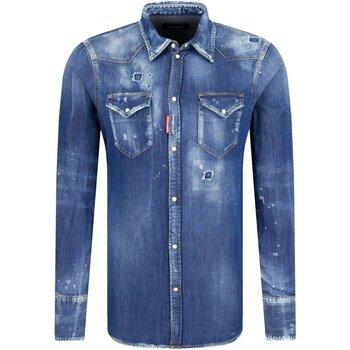 Textil Homem Camisas mangas comprida Dsquared S74DM0226 Azul