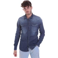 Textil Homem Camisas mangas comprida Gaudi 021GU46001 Azul