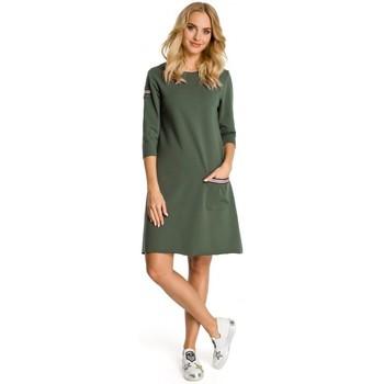 Textil Mulher Vestidos curtos Moe M343 Vestido trapézio com detalhe de riscas - verde militar