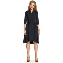 Textil Mulher Vestidos curtos Style S099 Vestido assimétrico de bainha em trapézio - preto
