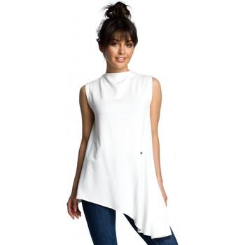 Textil Mulher Tops / Blusas Be B069 Tampo assimétrico sem mangas - ecru