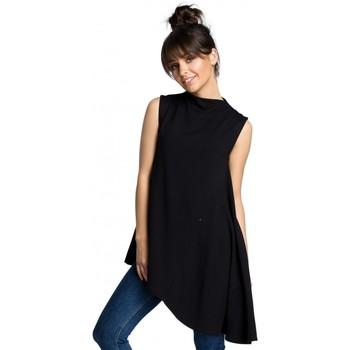 Textil Mulher Tops / Blusas Be B069 Tampo assimétrico sem mangas - preto