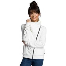 Textil Mulher Jaquetas Be B071 Camisola com fecho de correr - ecru