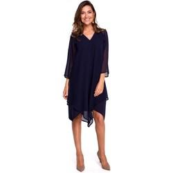Textil Mulher Vestidos curtos Style S159 Vestido Chiffon com bainha assimétrica - azul-marinho