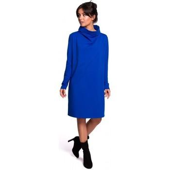 Textil Mulher Vestidos curtos Be B132 Vestido de colarinho alto - azul real