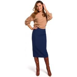 Textil Mulher Saias Style S171 Saia lápis de cintura alta - azul-marinho