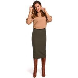 Textil Mulher Saias Style S171 Saia lápis de cintura alta - cáqui