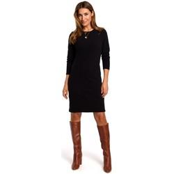 Textil Mulher Vestidos curtos Style S178 Vestido de camisola de manga comprida - preto